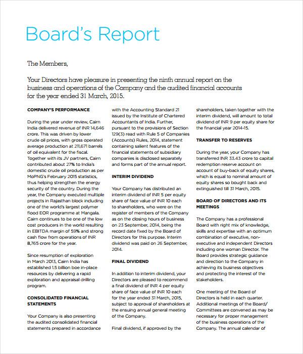 Board Report Template