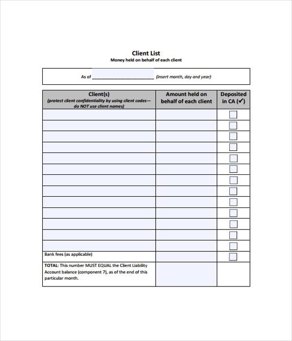 Client List Template