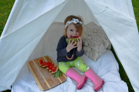 Outdoor picnic with a Tee Pee and watermelon
