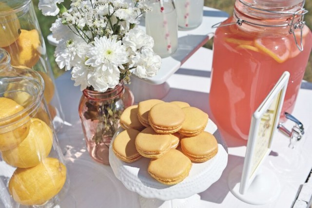 lemon shaped macarons in the summer