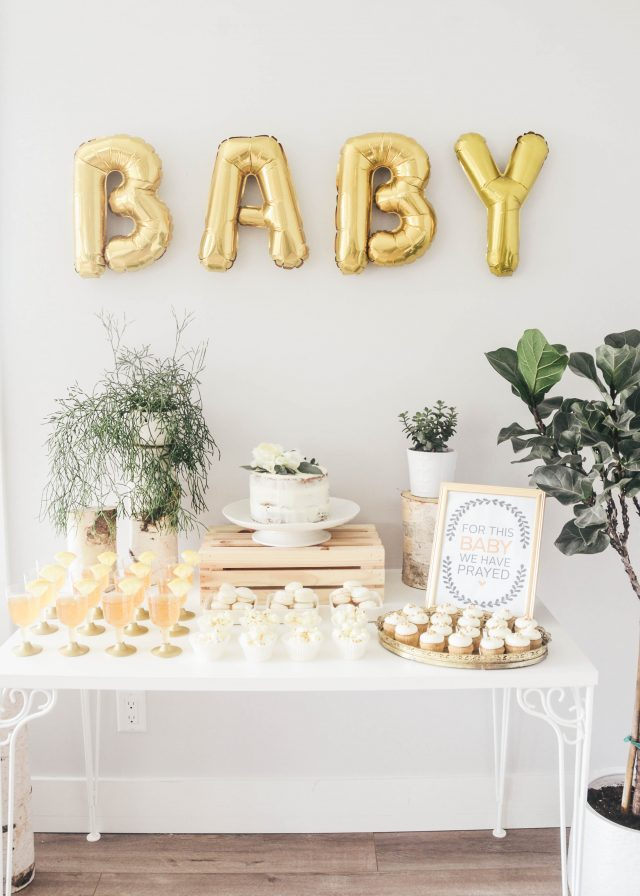 Birch Wood and Gold Baby Shower Free printable - For This Baby We Have Prayed