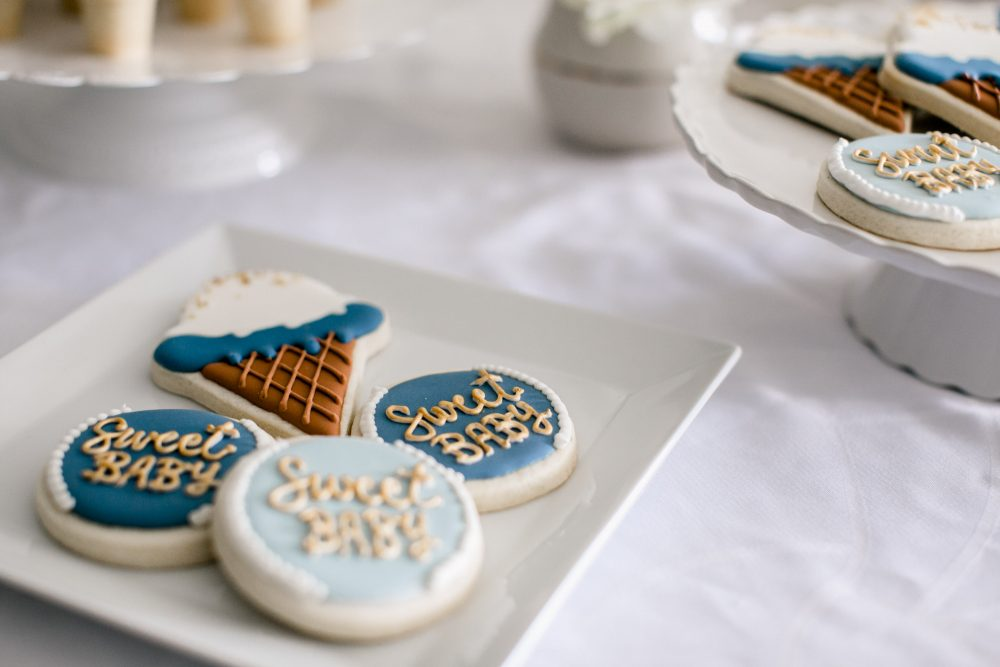 Icecream Themed Sweet Baby Shower | Icecream cone sugar cookies