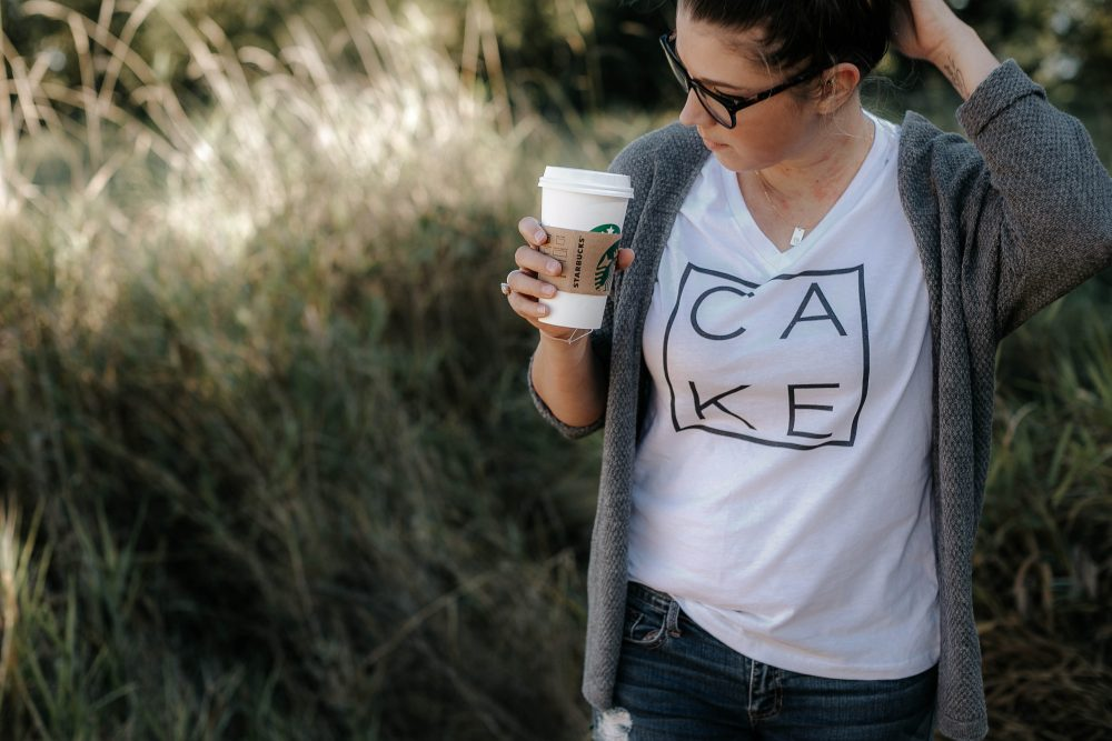 Motherhood Style in Graphic CAKE tee by The Sweet LIfe Apparel