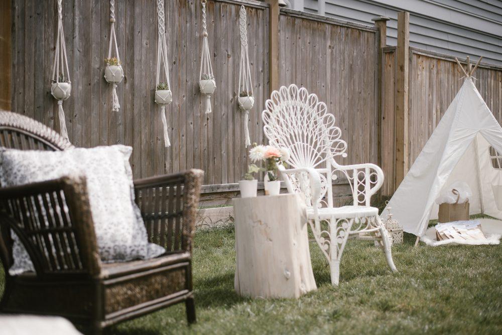 backyard styled boho and white lace baby shower | White Boho Baby Shower
