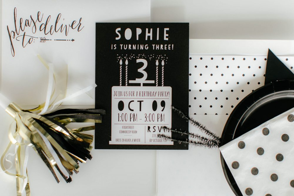 Black and White Birthday Party Invitations from Tiny Prints