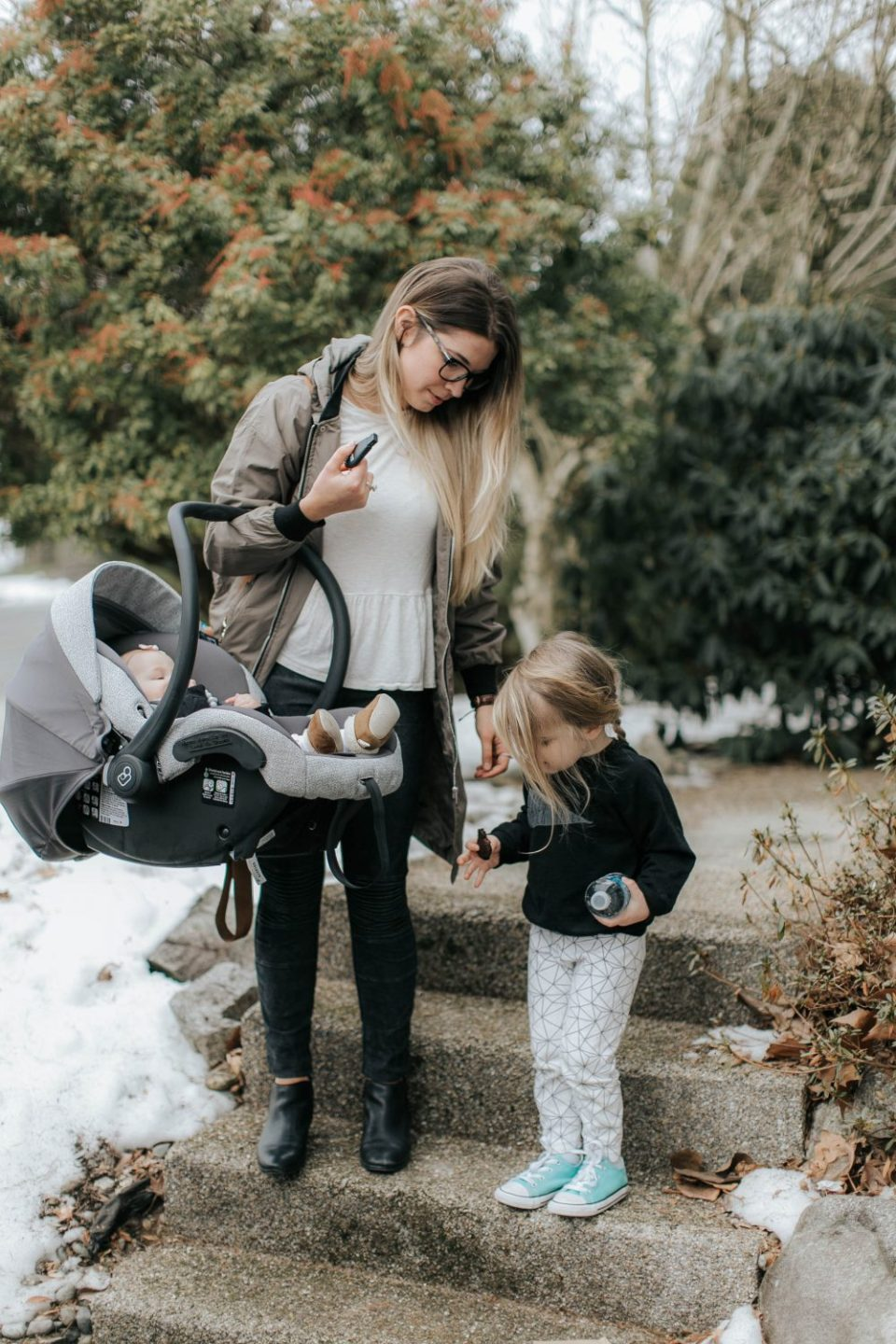 Mother, Daughter and Baby | Maxi Cosi Infant Car Seat