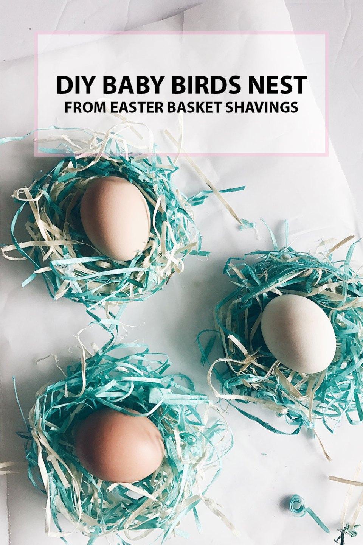 DIY Birds Nest from Easter Basket Shavings
