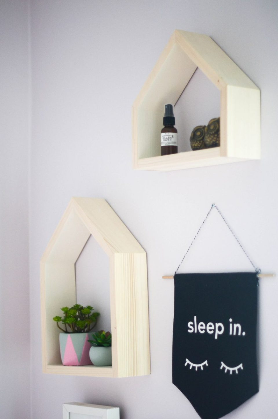 Floating House Shelves in Geo Floral Themed Big Girl Room