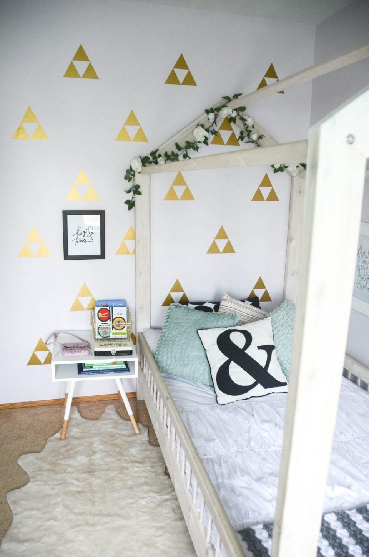 Handmade House Bed | Geo Floral Themed Big Girl Bedroom