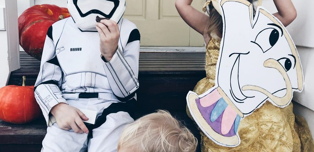Belle and Chip from Beauty and the Beast and a Storm Trooper | Halloween Costumes 2017