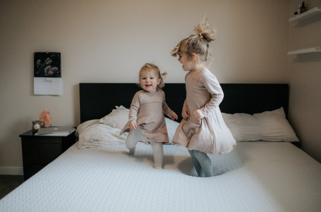"Two LIttle Monkey Jumping on the Bed | Canadian ""Bed in a Box"" Mattress Review // Photo by Julie Christine Photography"