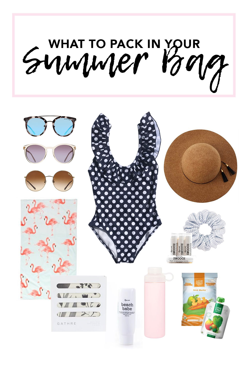 Summer Bag Checklist including women's sunglasses, swimsuit and more