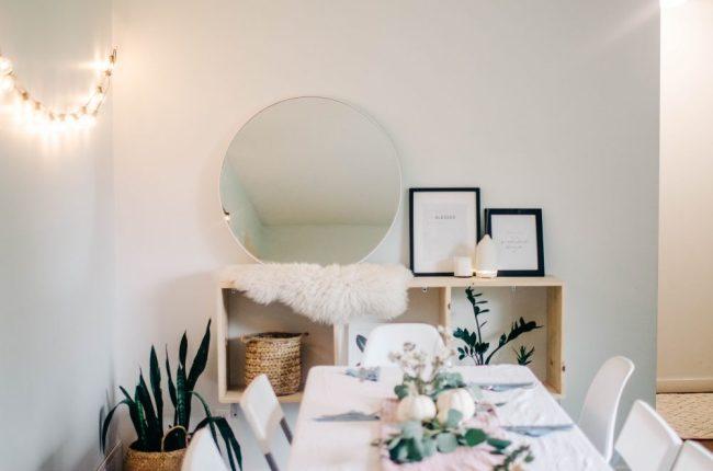 eucalyptus and white pumpking table runner for thanksgiving dinner home decor | 3 Free Printables for Thanksgiving