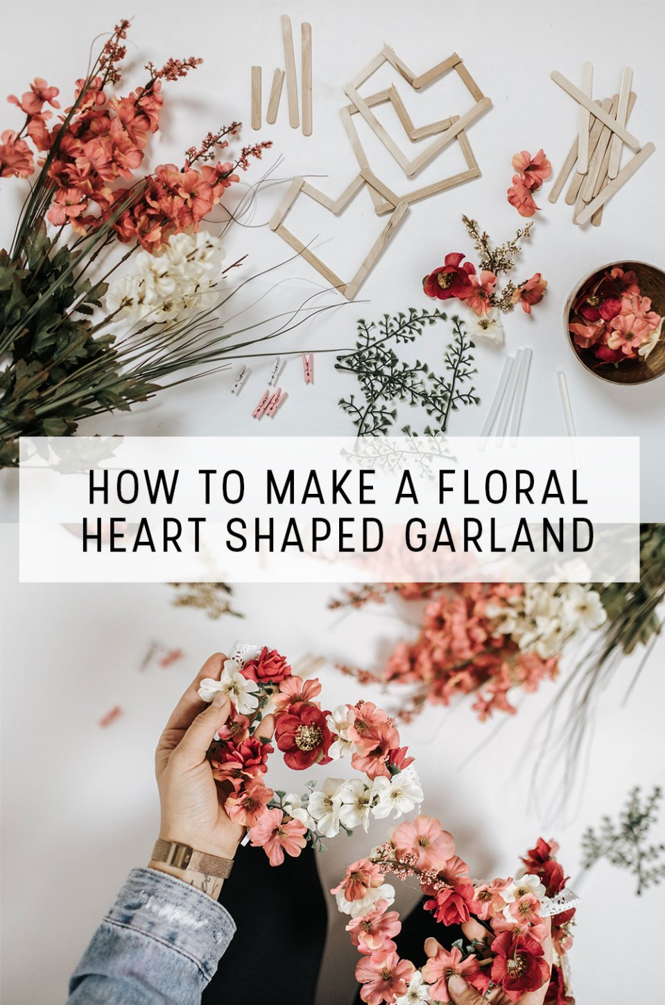 How to Make a Floral Heart Shaped Banner | Easy and Simple way to add Valentine's Day Home Decor into your home. Use popsicle sticks to make the hearts and then faux florals to create the flower heart shape. Viola floral heart shaped garland is complete.