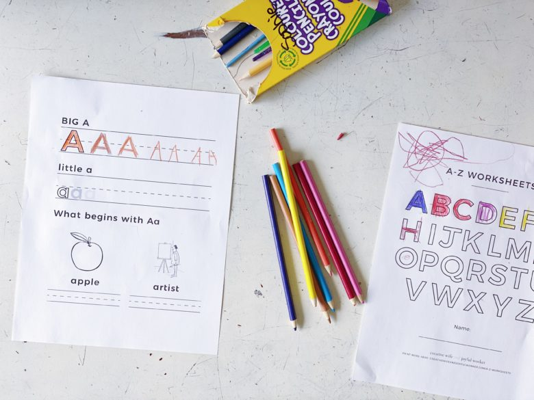 School from Home Alphabet worksheets for kids