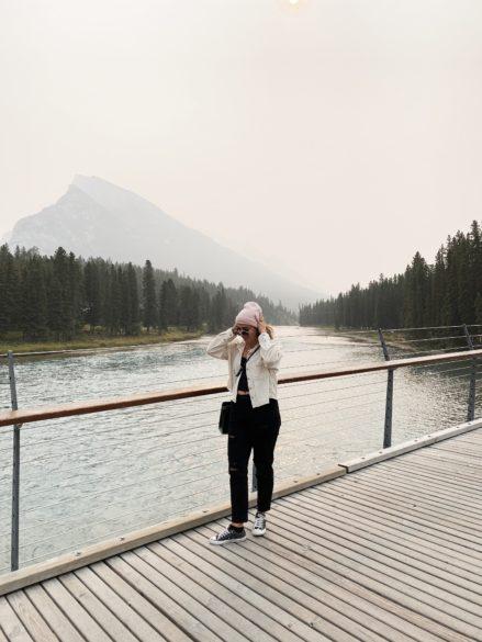 Scenic photo spot on the Banff Walking Bridge