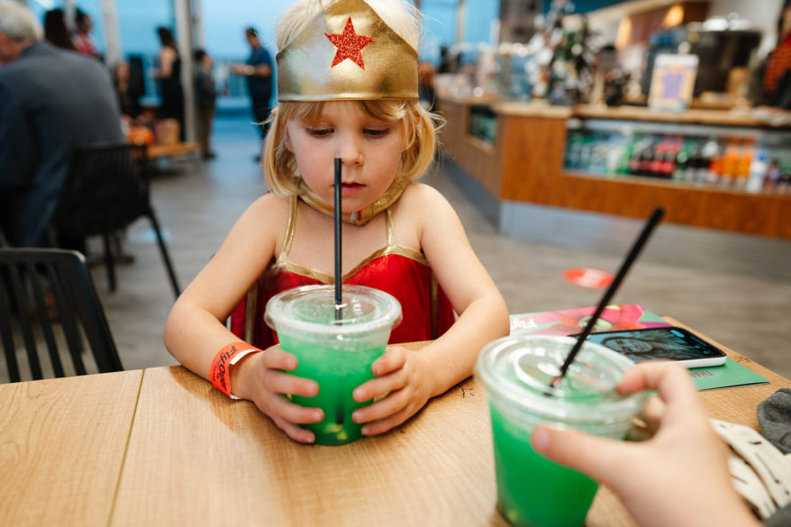 Kids Halloween themed drink at the Flying Whale Cafe by FlyOver Canada