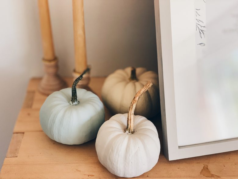 Painted Pumpkins in muted colours for an easy Thanksgiving Mantel Display