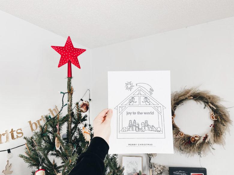 Kids Nativity Scene Free Colouring Page