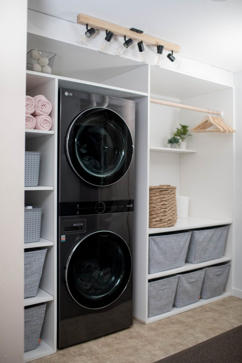 Laundry Room Reno After Picture with LG WashTower