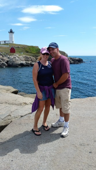 Sandy and Buddy at Nubble Light