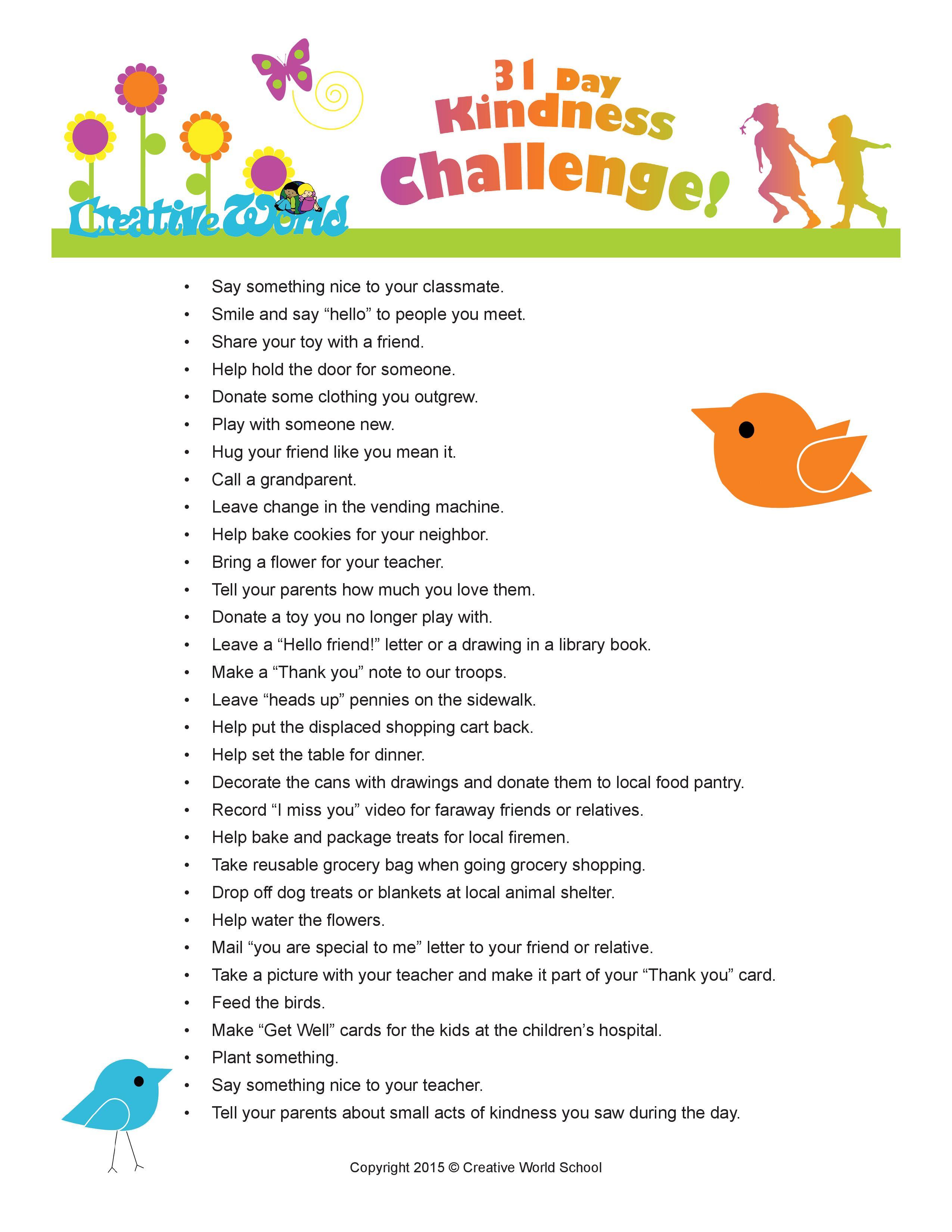 Teaching Children Kindness 31 Day Kindness Challenge