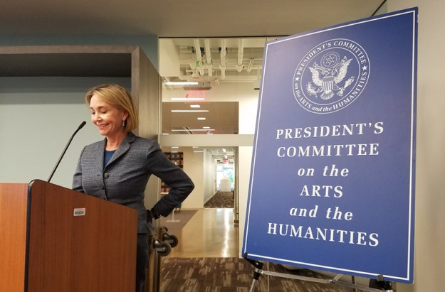 Megan Beyer, Executive Director of The President's Committee on the Arts and the Humanities (PCAH), welcomes attendees of the briefing organized by the CYD National Partnership and hosted by PCAH in Washington, D.C.