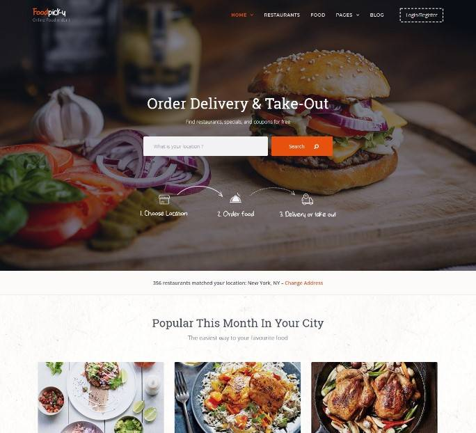 Food Delivery Restaurant Directory WordPress Theme - FoodPicky