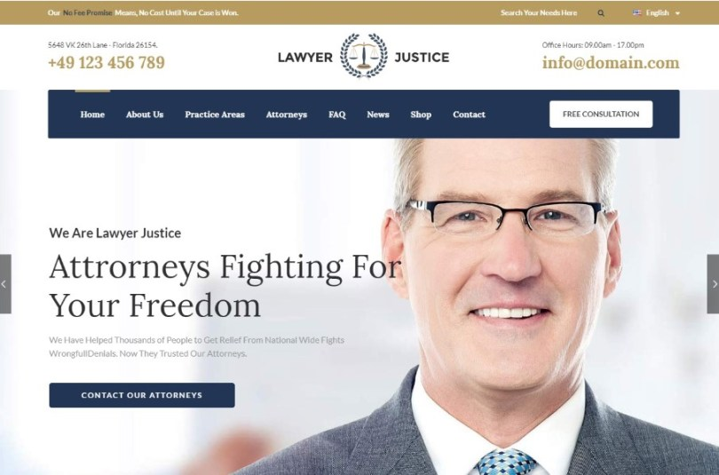 Lawyer & Justice - WordPress Theme for Lawyers Attorneys and Law Firm