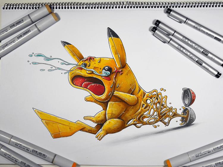 ilustracion a mano inspiracion pokemon