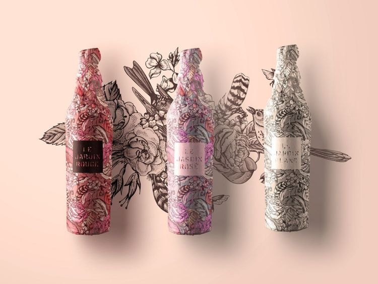 packaging vino tatuado floral