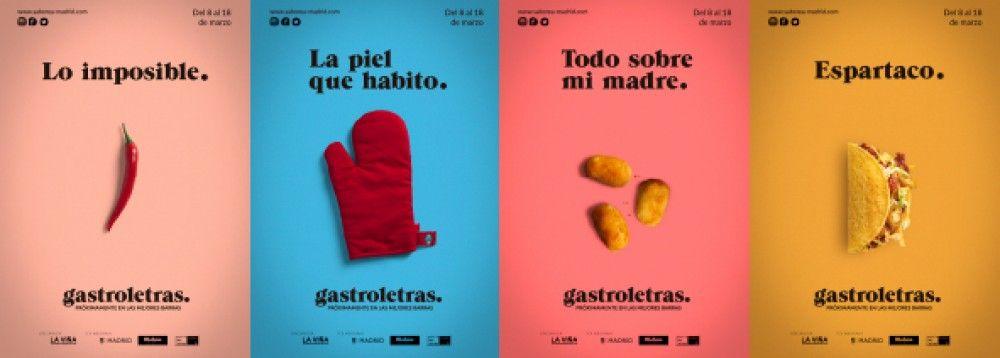 Carteles conceptuales y minimalistas para Gastroletras