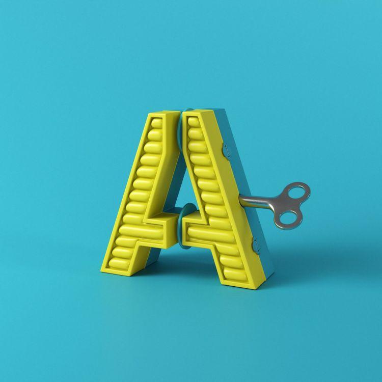 alfabeto animado como juguete de cuerda en 3d