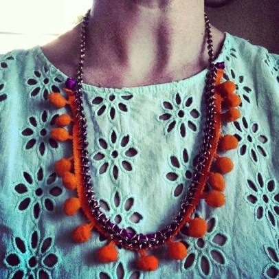 a personal fave - pompoms and chain