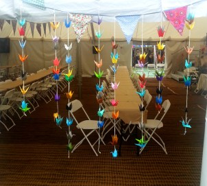 gorgeous paper crane garlands