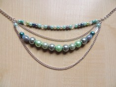 bead and chain necklace in light blue and green