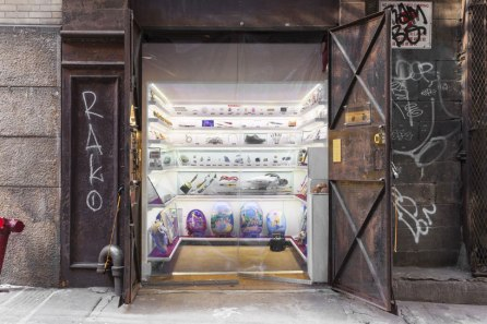 the elevator shaft museum sits on a quiet new york alleyway