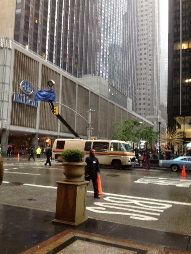 We stood outside in the rain and watched as a scene from Anchorman 2 was being shot! How cool is that?
