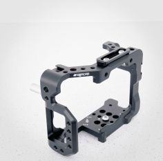 Seercam Cube GH5 cage with rear grip rod and dovetail handle attachment rail attached.