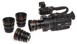 JVC GY-LS300 4K camcorder with Veydra Mini Prime Micro Four Thirds geared cinema lenses