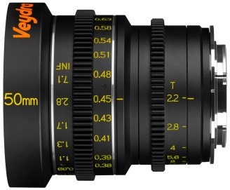 Veydra 50mm mini prime lens with metric scale, for Super 16/Micro Four Thirds and Super 35/APS-C.