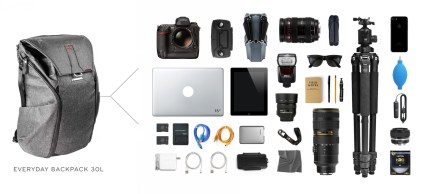 Full photographic gear carrying capacity of the 30-litre Peak Design Everyday Backpack.