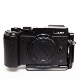 The discontinued Really Right Stuff BGX8 L-Plate for the still-in-production Panasonic Lumix DMC-GX8.