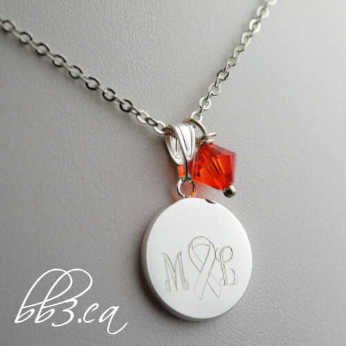 kidney cancer awareness necklace with initials by leilani cleveland