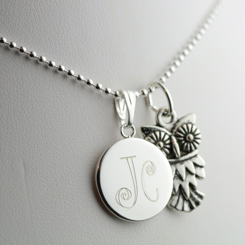 Owl necklace personalized with engraving