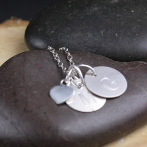 Cute sterling silver necklace with letter charms and tiny heart