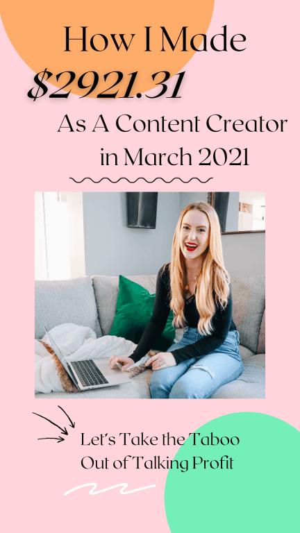 content creator income report march 2021