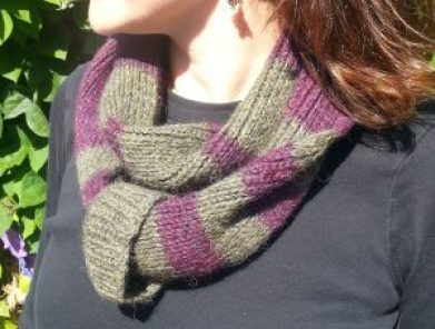 woman wearing a striped adjustable infinity scarf