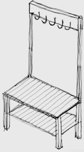 design sketch of entryway organizer with bench, shoe storage, and coat hooks