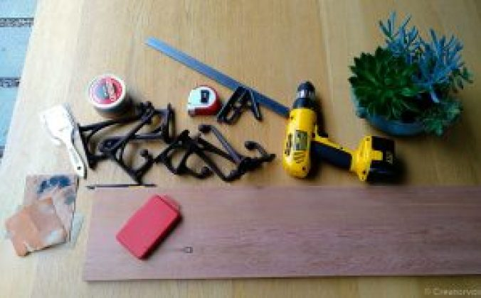 coat hooks and tools needed to attach them to a coat rack board